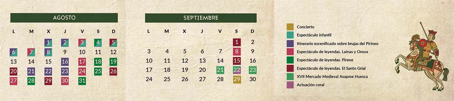 Calendario Un verano de leyendas Huesca